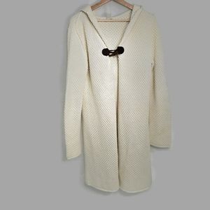 Lucky Brand Ivory Hooded Cardigan Toggle Button L
